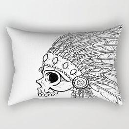 American Indian skull Black and White Art Rectangular Pillow