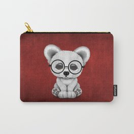 Cute Polar Bear Cub with Eye Glasses on Red Carry-All Pouch