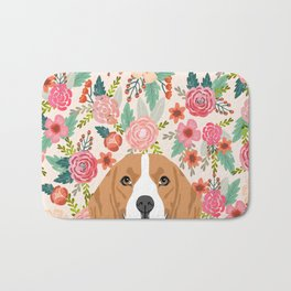 Beagle floral dog breed pet lover dog head with flowers beagles gifts Bath Mat