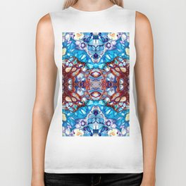 Blue, Red and Purple Abstract Design Biker Tank