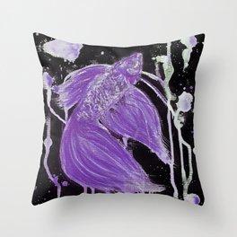 Purple Drip Spatter Betta Throw Pillow