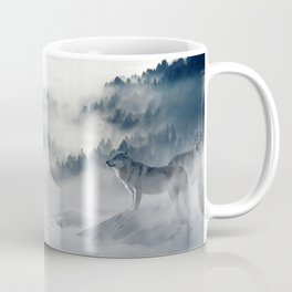 Wolves Among the Snowcapped Mountain Coffee Mug
