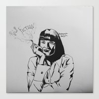 mia wallace Canvas Prints featuring Mia Wallace by Nic Zuhse