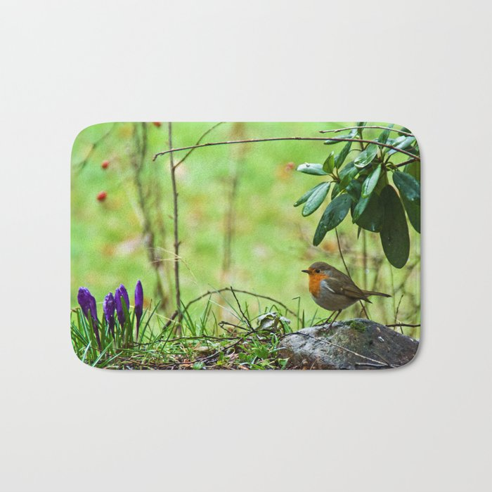 Robin in the spring Bath Mat