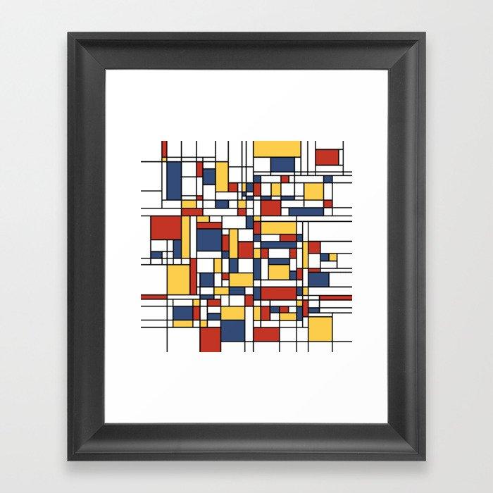 Mondrian De Stijl Pattern Framed Art Print