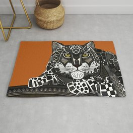 snow leopard orange Rug