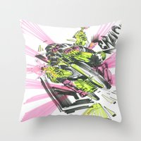 moto Throw Pillows featuring Moto Mutants by Mike McDonnell