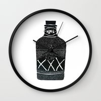alcohol Wall Clocks featuring Alcohol Bottle xxx by matteolasi