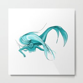 Teal Mermaid Metal Print