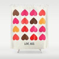 ass Shower Curtains featuring LOVE ASS by Lulla