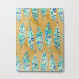 Jeweled Enamel Leaves on Tan Metal Print