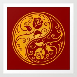 Yellow and Red Yin Yang Roses Art Print