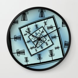 Spinning Disc Golf Baskets Wall Clock