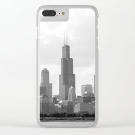 Chicago Skyline Black and White Clear iPhone Case