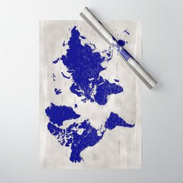 """Navy blue and grey detailed world map, """"Delaney"""" Wrapping Paper"""