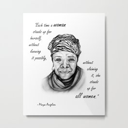 Feminist Art Maya Angelou Quote Metal Print