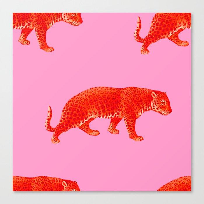 Vintage Cheetahs in Coral + Red Leinwanddruck