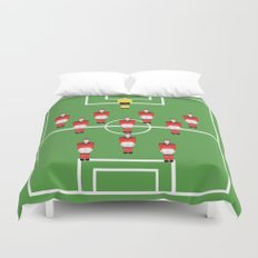Soccer football team in red Duvet Cover