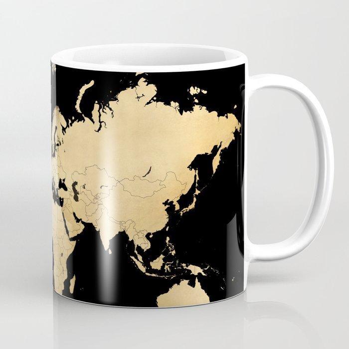 Sleek Black And Gold World Map Coffee Mug By Blursbyaishop Society6