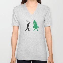 Funny Cartoon Christmas tree is chased by Lumberjack / Run Forrest, Run! Unisex V-Neck