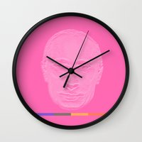 putin Wall Clocks featuring Pink Putin by Jean-Philippe Côté