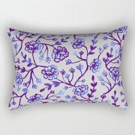 Watercolor Peonies - Periwinkle Rectangular Pillow