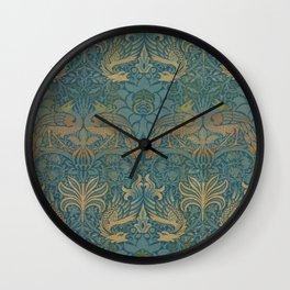 Peacock Dragon Morris Tan Blue Wall Clock