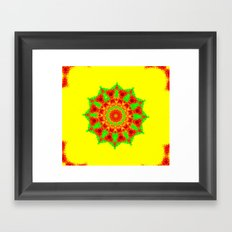 Lovely Healing Mandalas in Brilliant Colors: Red, Yellow, and Green Framed Art Print