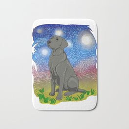 Starry Night Black Labrador Retriever Gift Black Lab Gift Print Bath Mat
