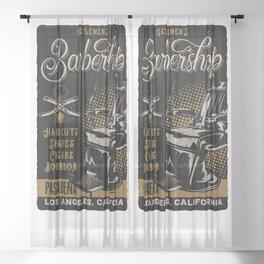 Gentlemen's Barber Shop LA Sheer Curtain