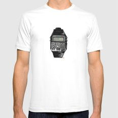 Synth Watch MEDIUM Mens Fitted Tee White