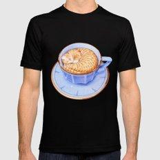 Cat in Coffee MEDIUM Black Mens Fitted Tee
