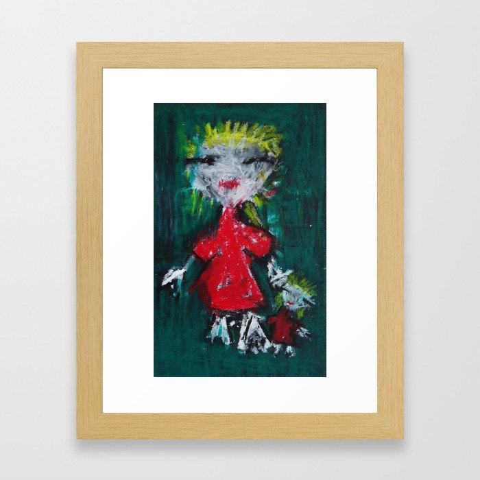 Girl and Her Doll Framed Art Print