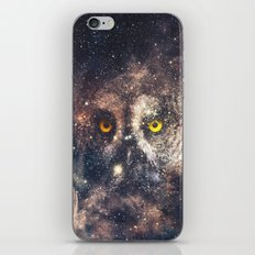 Purple Galaxy Nebula Stars Blue Space Hipster Owl iPhone & iPod Skin
