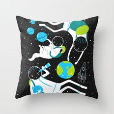 A Day Out In Space - Black Throw Pillow