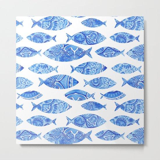 Folk watercolor fish pattern by markovka