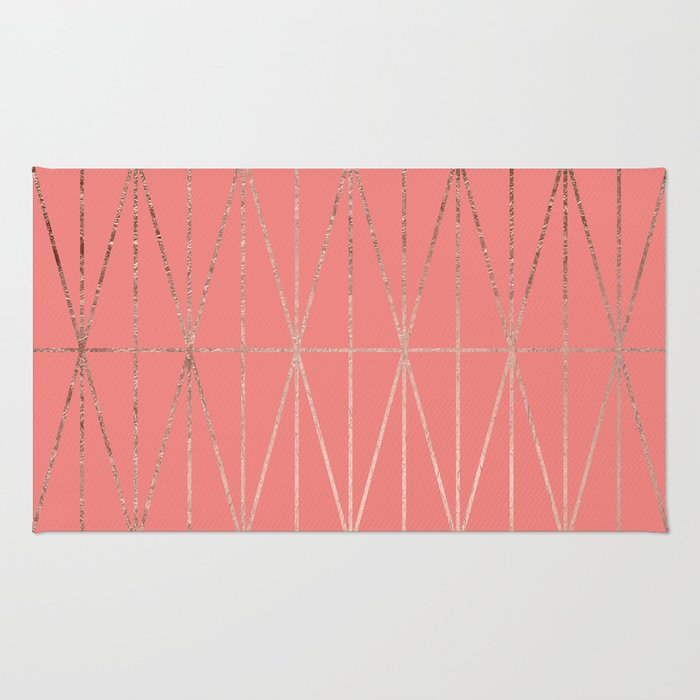 Modern geometric triangles faux rose gold coral pattern Rug