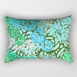 Colorful Overlapping Roses on Roses Print Design 2 Rectangular Pillow