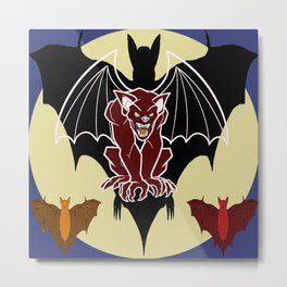 Medieval Gargoyle,Bats and Moon by Lorloves Design Metal Print