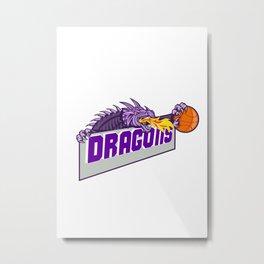 Dragon Head Fire Clutching Basketball Retro Metal Print
