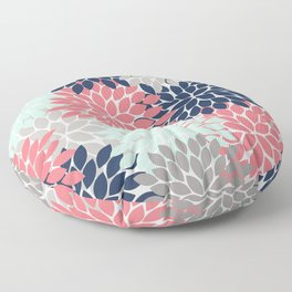 Flower Burst Petals Floral Pattern Navy Coral Mint Gray Floor Pillow