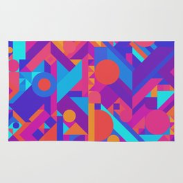 GEOMETRY SHAPES PATTERN PRINT (WARM & COOL COLOR SCHEME) Rug