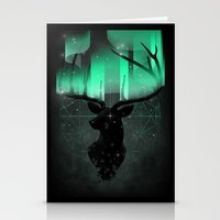 northern lights Stationery Cards featuring Northern Lights by angrymonk