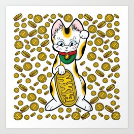Cat & Coins Art Print