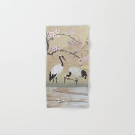 Cranes Under Cherry Tree Hand & Bath Towel