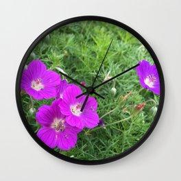 Purple-Pink Flowers Wall Clock
