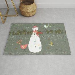 Cute Christmas Snowman & Birds Winter Scene Rug