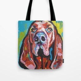 Fun REDBONE COONHOUND Dog bright colorful Pop Art painting by Lea Tote Bag