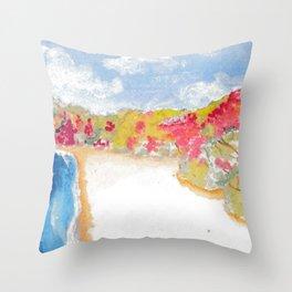 Fall Beach Throw Pillow