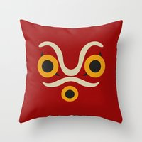 princess mononoke Throw Pillows featuring Princess Mononoke  by Fabio Castro